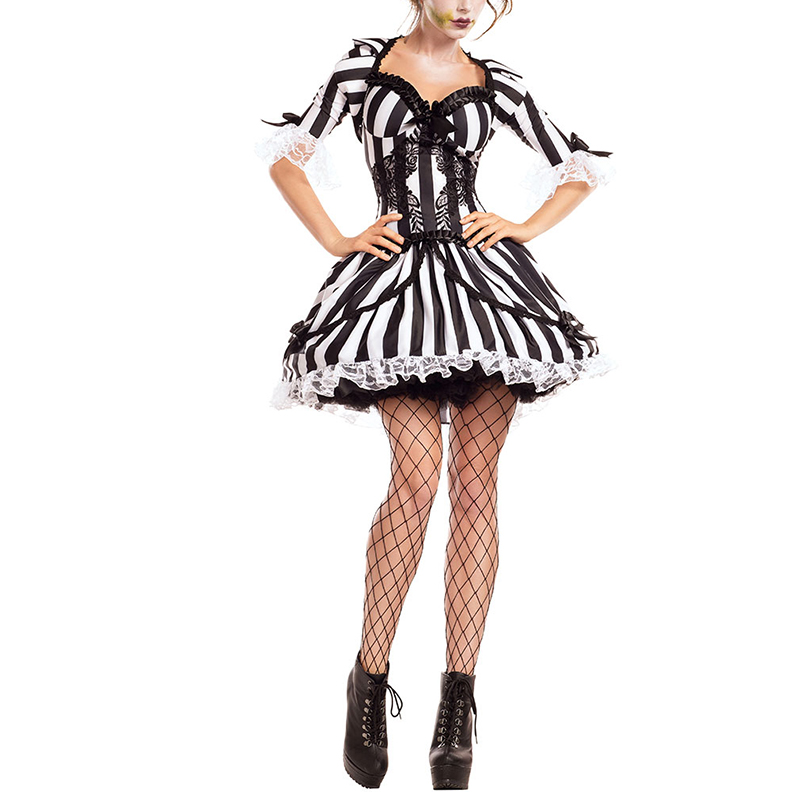 <font><b>Halloween</b></font> Scary Costume Ghost Bride Costume <font><b>Sexy</b></font> Black and white stripes <font><b>Women</b></font> Vampire <font><b>Witch</b></font> Cosplay Ghost festival Costume Dres image