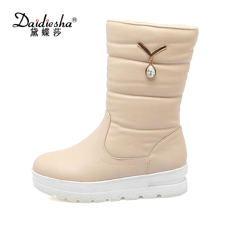 Daidiesha 2017 size 33-42 wedges high heels warm fur winter shoes woman comfort slip on Ankle Boots women Wedges snow boots 2017 winter fur snow boots woman slip on