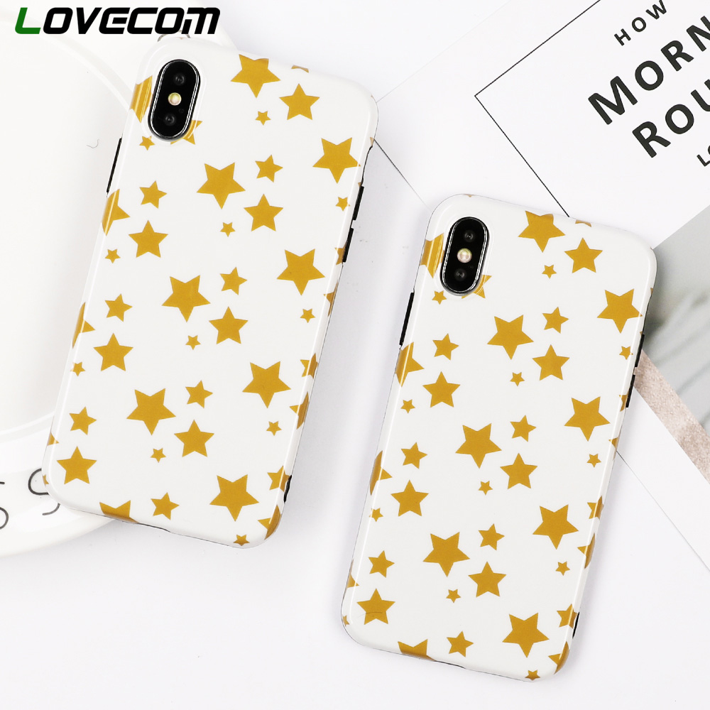 LOVECOM Yellow Stars Case For iPhone XS X 6 6S 7 8 Plus IMD Soft Full Body Fashion Protective Phone Back Cover Case Coque Gift