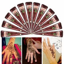 1PC Temporary Tattoo Kit Henna Painted Cream Natural Herbal Cones Body Tattoo Art Paint Mehandi Ink For Party Wedding 5 Colors