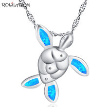 Ожерелье rollason с кулоном голубым опалом модное маленькое