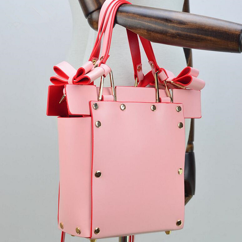 New High Quality Handbag Ladies Casual Hasp Bag Female Bowknot Fashion Leather Rivet Shoulder Bag Female Crossbody Bags