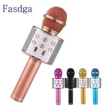 Professional  Bluetooth Wireless Microphone Speaker Handheld Microphone Karaoke Mic Music Player Singing Recorder KTV Microphone leory professional uhf karaoke wireless dual handheld mic transmitter microphone system with receiver for family diy ktv page 3