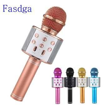 Professional  Bluetooth Wireless Microphone Speaker Handheld Microphone Karaoke Mic Music Player Singing Recorder KTV Microphone led lights wireless microphone professional karaoke bluetooth microphone studio player singing recorder handheld microfone mic 1