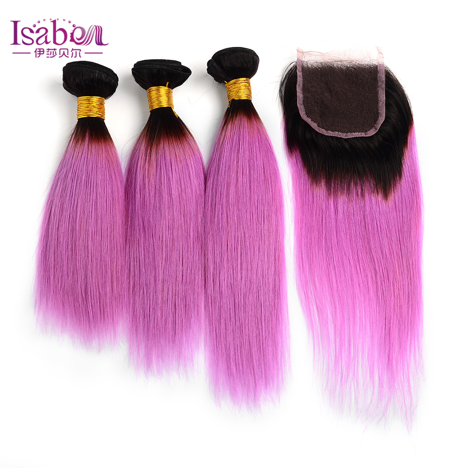 8a Brazilian Hair Weave 3 Bundles With Lace Closure Ombre Hair