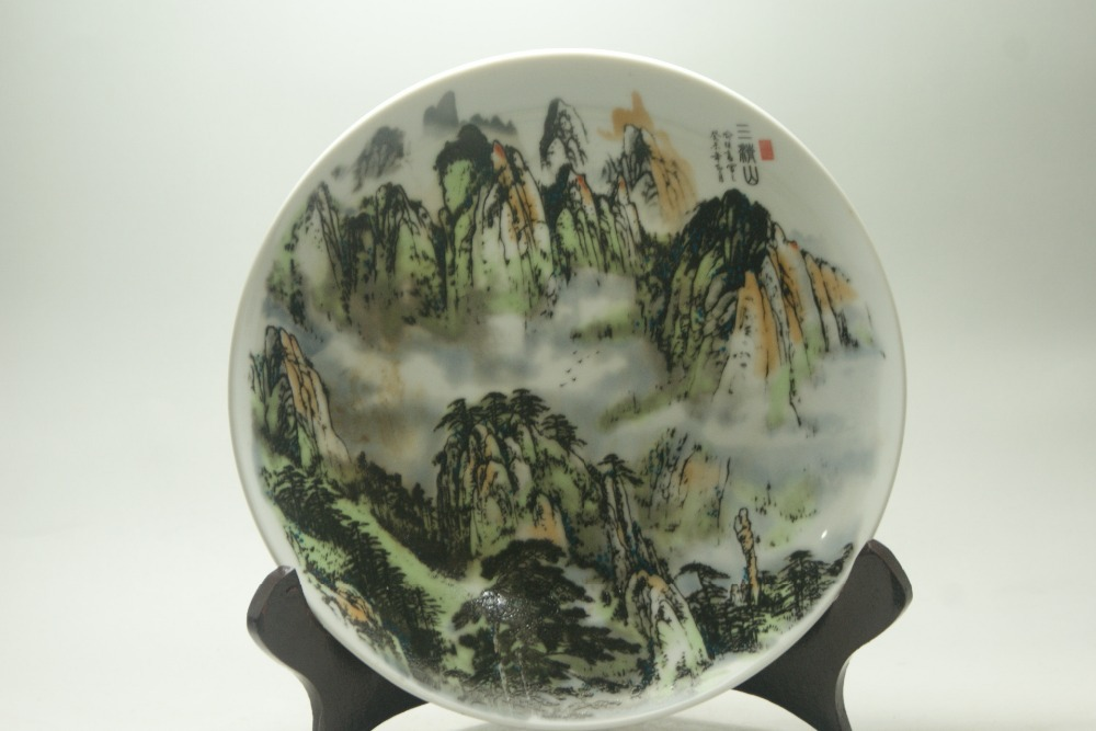 Fine Old China porcelain painted Ceramic plates Porcelain& Pottery Three mountain scenery painted Collectible Porcelain