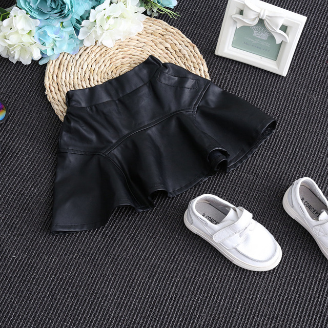 2016 New Arrival girls spring&autumn tutu skirt children pu leather skirts for kids toddler girl cute clothing christmas balls