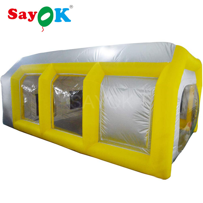Yellow&Silver Inflatable Paint Booth Portable Inflatable Spray Booth Car Truck Paint Tent with Filter System for Car Painting