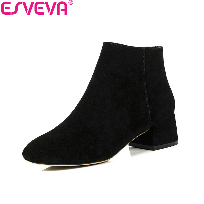 ESVEVA 2018 Boots Sweet Style Square Toe Elegant Square Med Heels Women Boots Chunky Black Ankle Boots Ladies Shoes Size 34-43 esveva 2018 high heels women boots short plush boots square heels elegant chunky pointed toe ankle boots ladies shoes size 34 39
