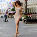 Cotton Strapless Summer Dress Front Slit Bodycon Party Dress Sexy Women Dress 15