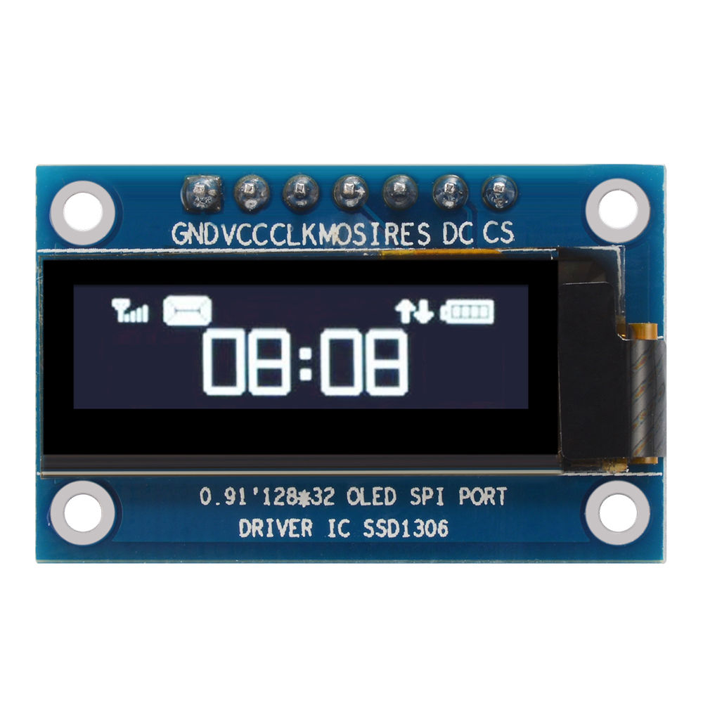 0.91 Inch SPI 128x32 White OLED LCD Display DIY Module SSD1306 Driver IC DC 3.3V-5V Compatible For Arduino