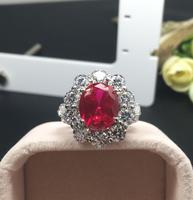 4 карат Рубин цветок женское кольцо роскошное Серебро 925 Обручальное кольцо (мА)