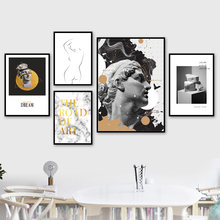 Michelangelo Sculpture Marble body Art Wall Art Canvas Painting Nordic Posters And Prints Wall Pictures For Living Room Decor(China)