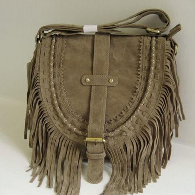 Bohemian Style Women Boho Bag Tassel Designer Nubuck Leather Crossbody Fringe Handbags Ethnic Messenger High