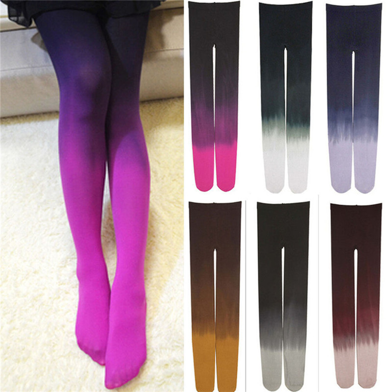 New Womens Four Seasons 120D Velvet Gradient Opaque Seamless Pantyhose Stockings Candy Color Tights Medias Tayt 6 colors