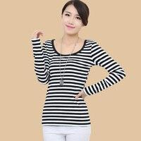 Hot Sprzedaż znane marki kobiety 6xl plus size kobiety dorywczo paski z długim rękawem t-shirty blusas YLM6001 S-6XL Dropship