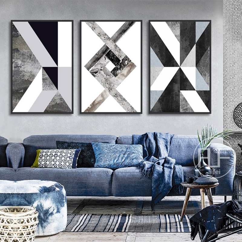 HTB1Jua6cBiE3KVjSZFMq6zQhVXaX Abstract Geometric Canvas Painting Black and White Nordic Posters and Prints Wall Art Picture for Living Room Decor No Frame