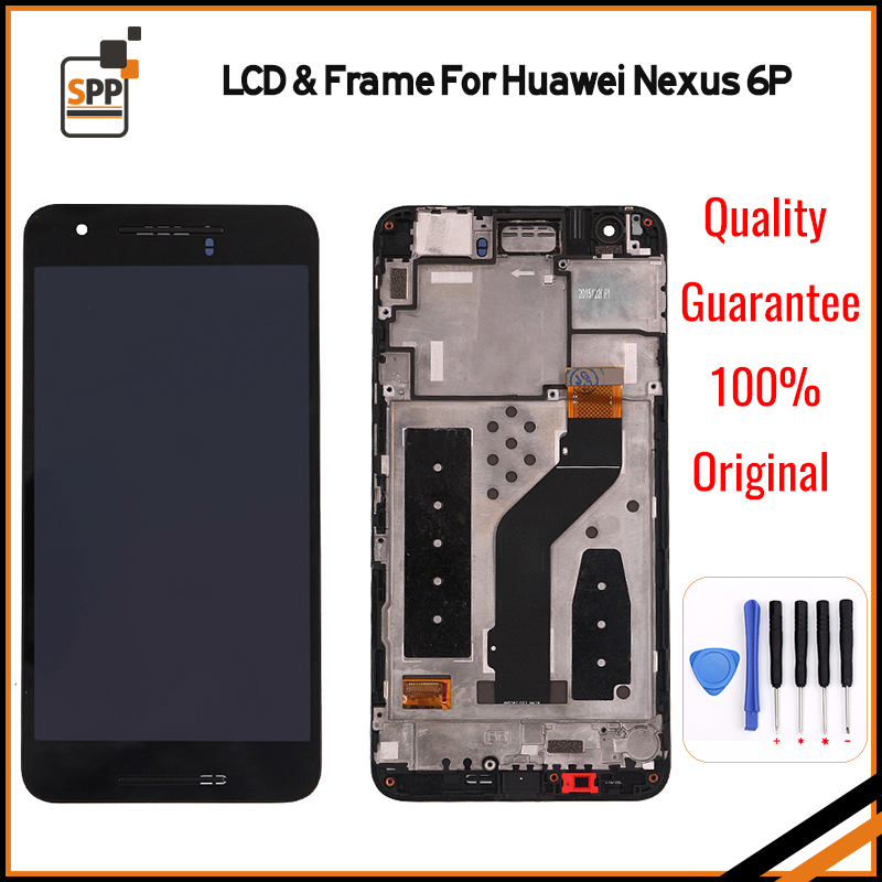 For Huawei Google Nexus 6P LCD Display Touch Screen Digitizer Assembly With Frame Replacement Parts Black