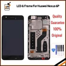 Für Huawei Google Nexus 6 P LCD Display Touchscreen Digitizer Montage Mit Rahmen Ersatzteile Schwarz + werkzeug 2560×1440