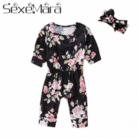 2018 Fashion Spring Autumn Short Sleeve Climbing Clothes Headband Outfits Baby Girl Romper Newborn Printed Waisted Jumpsuit
