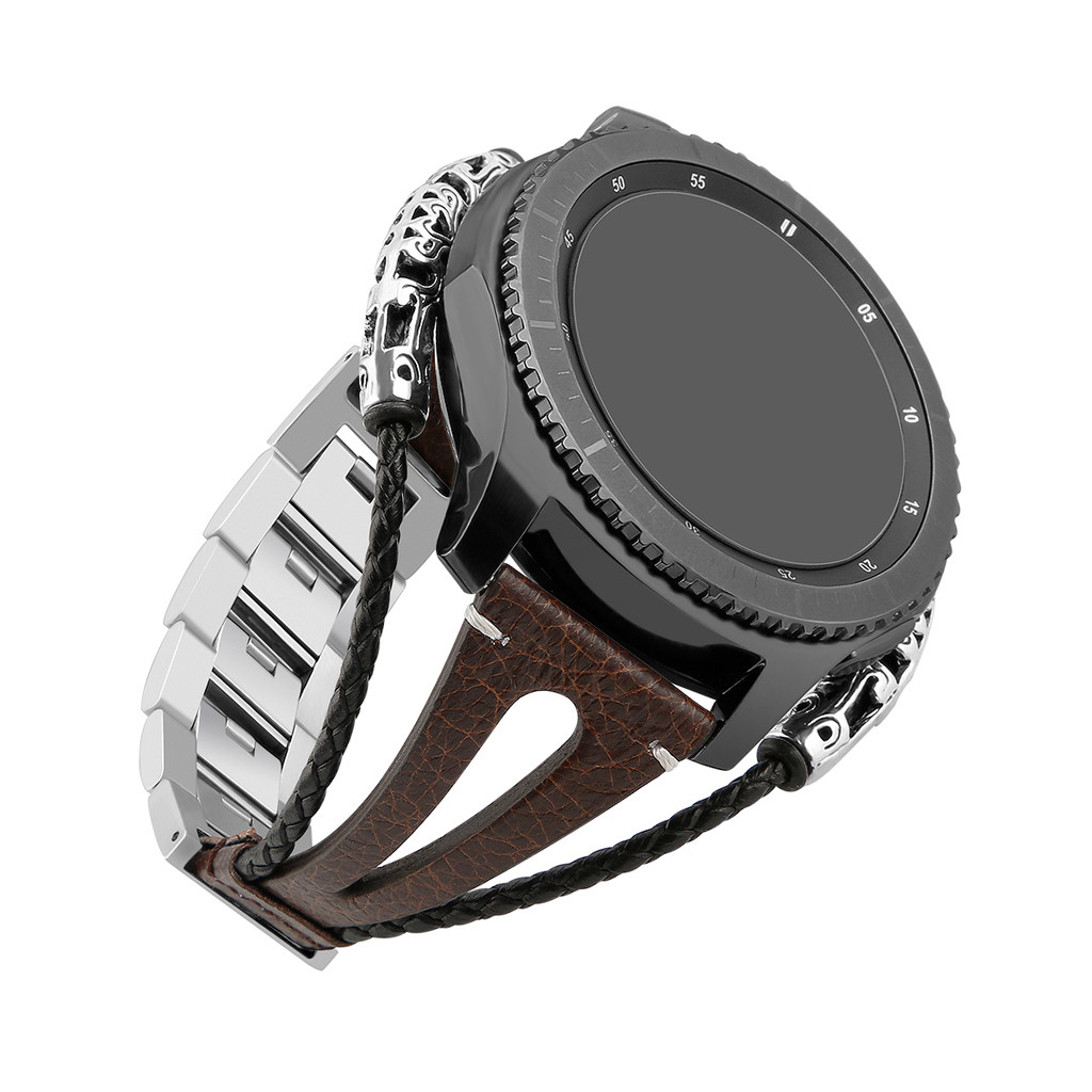 Fashion Retro Men Watch Bands For <font><b>Samsung</b></font> Galaxy Watch (<font><b>46mm</b></font>) Leather Bands Handmade Wristband Bracelet <font><b>Straps</b></font> High Quality Belt image