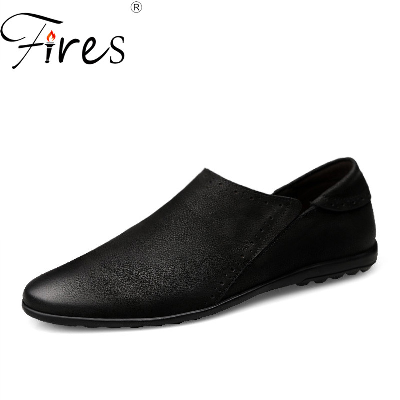 Fires Men Driving Shoes Genuine Leather Casual Loafers High Quality Male Comfortable Casual Shoes Non slip