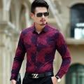 Люксовый Бренд Мужские Рубашки Платья 2016 Мода Дизайн Печатных Мужчин Slim Fit Рубашки С Длинным Рукавом Сорочка Homme Случайные Camisas Hombre