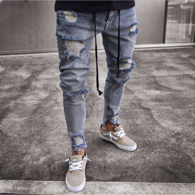 Ripped   Jeans   Slim Spring Hole Long Pencil Pants 2018 Men's Fashion Thin Skinny   Jeans   for Men Hiphop Trousers Clothes Clothing