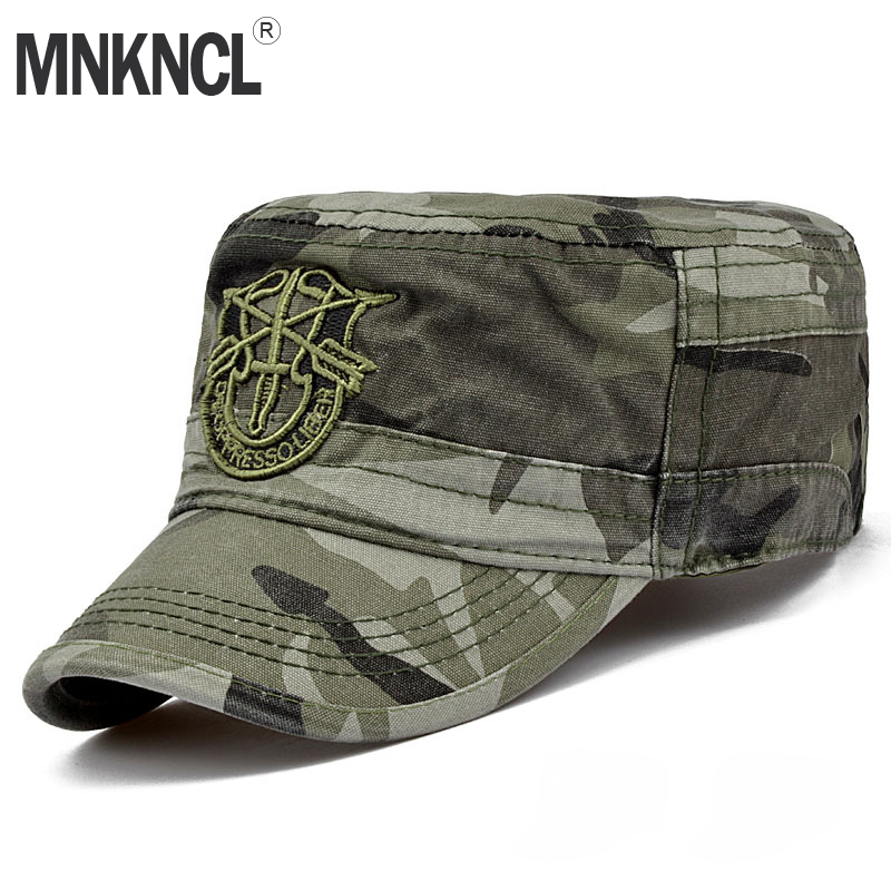 MNKNCL 2018 Brand Fashion Men Tactical Army Camouflage Flat Cap Hats For Women Men Summer Camo Army Baseball Caps Adjustable fashion rivets cotton polyester fiber men s flat top hat cap army green
