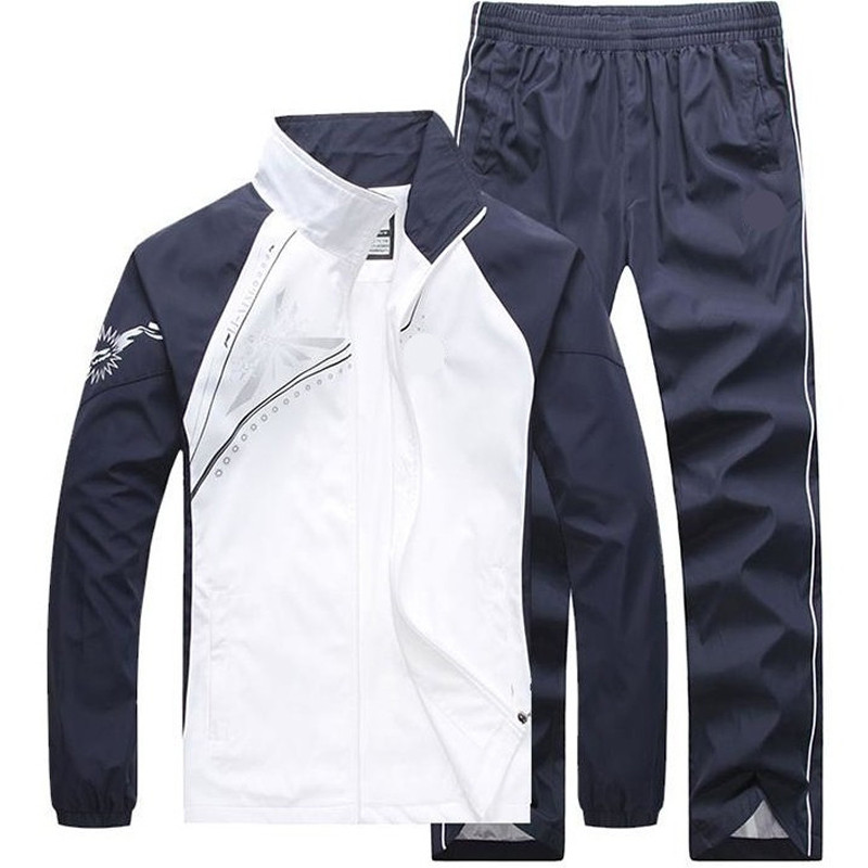 New Men's Set Spring Autumn Men Sportswear 2 Piece Set Sporting Suit Jacket+Pant Sweatsuit Male Clothing Tracksuit Size 5XL