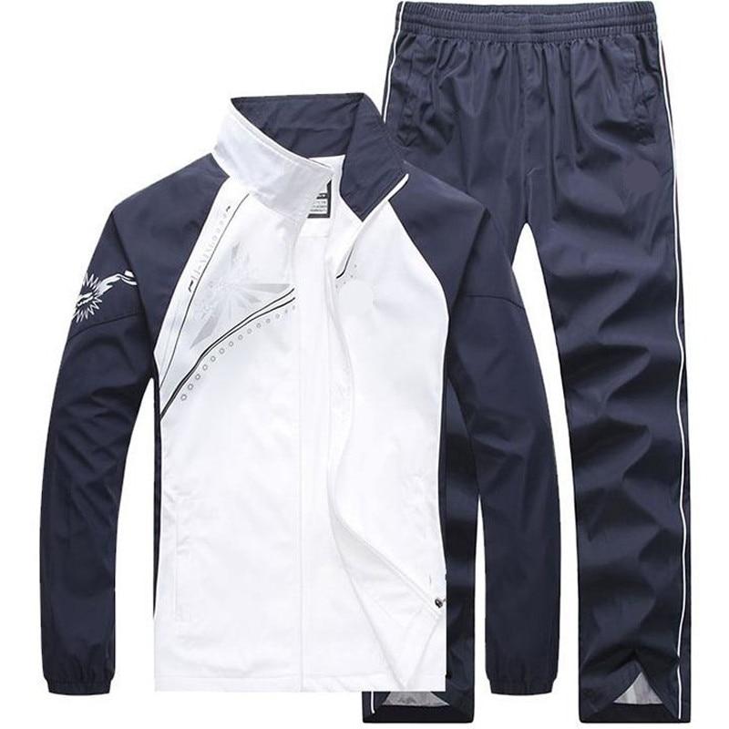 New Men's Set Spring Autumn Men Sportswear 2 Piece Set Sporting Suit Jacket+Pant Sweatsuit Male Clothing Tracksuit Size 5XL