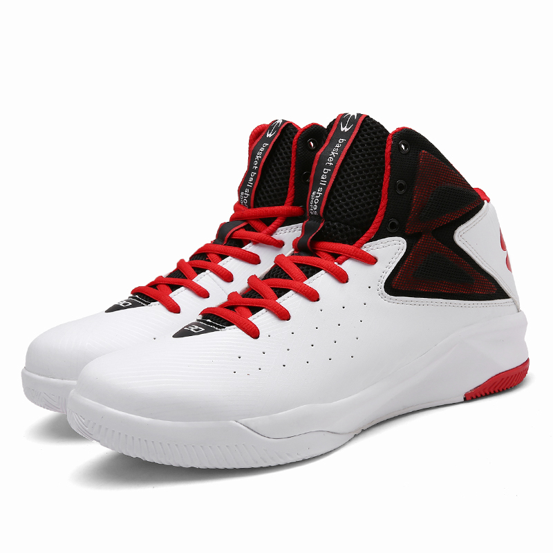 Men Adult Boy High Quality Sneakers Black and White Basketball Boots Indoor Basketball Shoes Size EU 39-44 Free Shipping