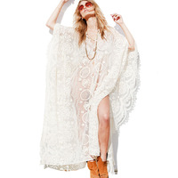 Woman Luxury Beach Dress Bohemian Boho Hippie Sexy See Through White Lace Crochet Oversize Long Party Dress Jurken Grote Maten