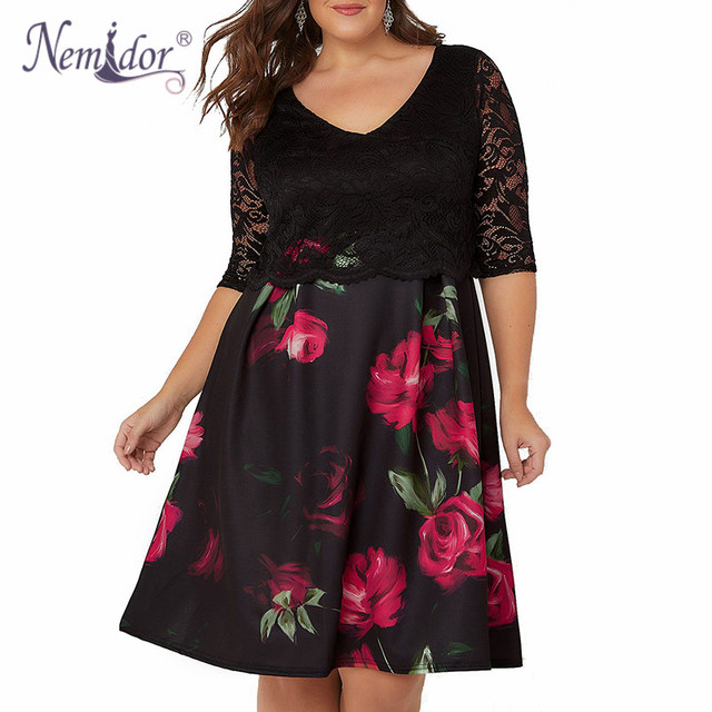 Women Half Sleeve Plus Size Dress 8XL 9XL A-line Dress Elegant V-neck Cocktail Floral Print Lace Swing Dress