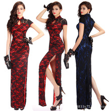 Lace cheongsam dress sexy chinese style long robe bodycon open leg slim long dress red dress with lace sexy lingerie porn erotic girl long sleeved cheongsam dress chinese style children s clothing 2017 winter lace fine embroidery new year red dress 2 8y