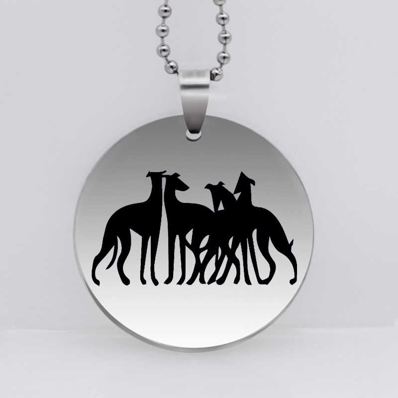 PAW PRINT Stainless Steel United Fight Team Greyhounds Dog Pendant Necklace Animal Necklace Pet Jewelry Drop Shipping YLQ6273