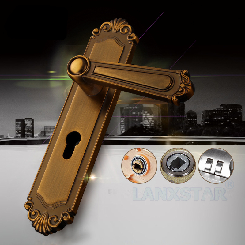 ФОТО Universal Lock Machine Room Door Handle Lockset Solid Wood-door Locker Antique Style Mute Lockbody Practical Door-locks
