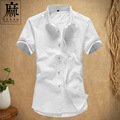 Summer Linen Casual Men Shirt Short Sleeve Solid Loose Leisure Shirts Men Clothes Fashion Brand Clothing Breathable