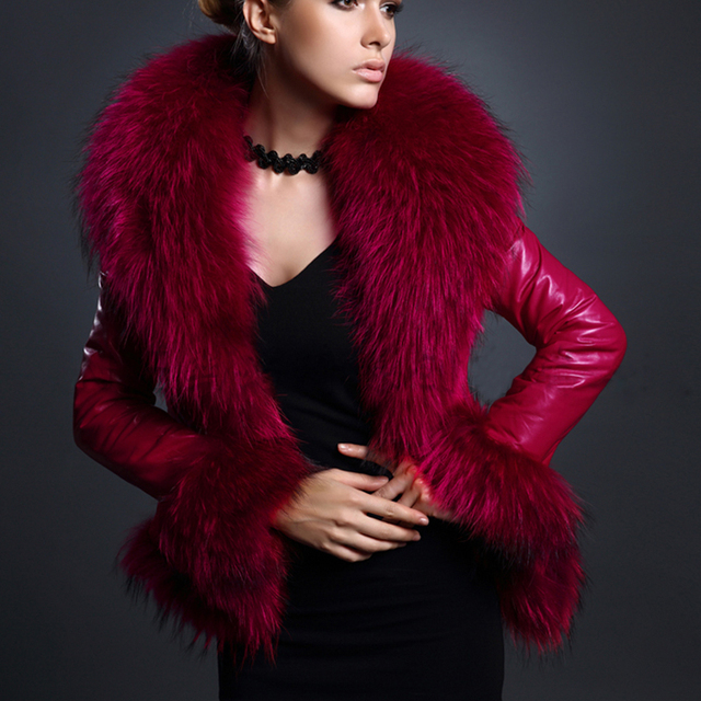 25823a73eb3 Winter Womens Long Sleeve Faux Fur Collar Leather Jacket Slim Waist Coat  Outerwear Overcoat Parka Black Red Plus Size XXXL Q1780