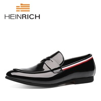 HEINRICH New Arrivals Luxury Brand Leather Fashion Men Business Dress Loafers Pointy Toe Shoes Black Breathable Formal Shoes