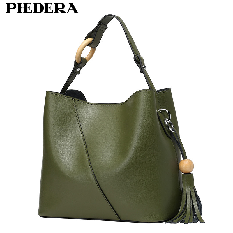 New Graceful Genuine Leather Women Shoulder Bag Handbag Fashion Tassels Bucket Ladies Bags Real Leather Women Messenger Bag сумка женская dakine stashable tote sienna sie