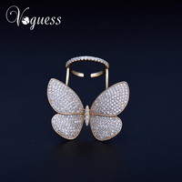 VOGUESS Brand Exaggerated Luxury AAA Cubic Zirconia Big Movable Butterfly Rings For Women Gold Plated Shiny