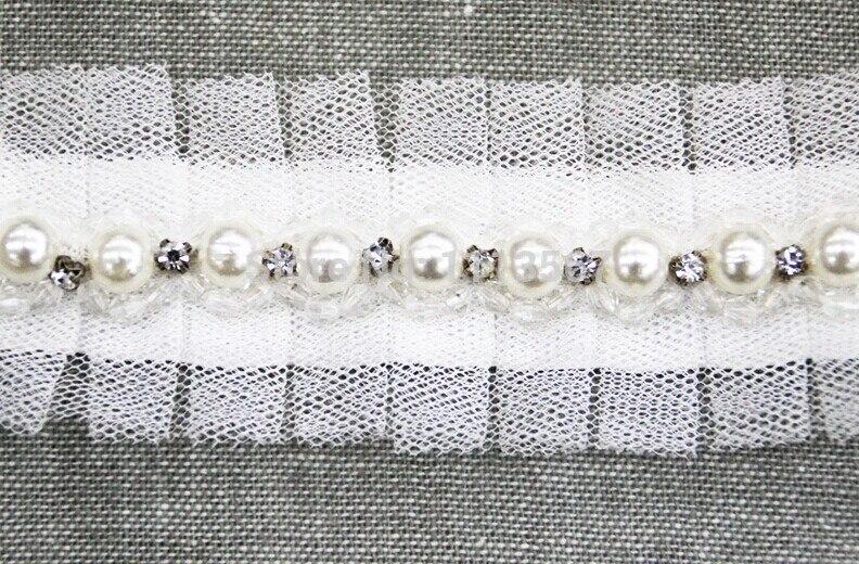 10 yard artisanat gaze fausses perles strass perles garniture décorée RibbonTrim pour robe de mariée vêtements décoration AccessoriesT289