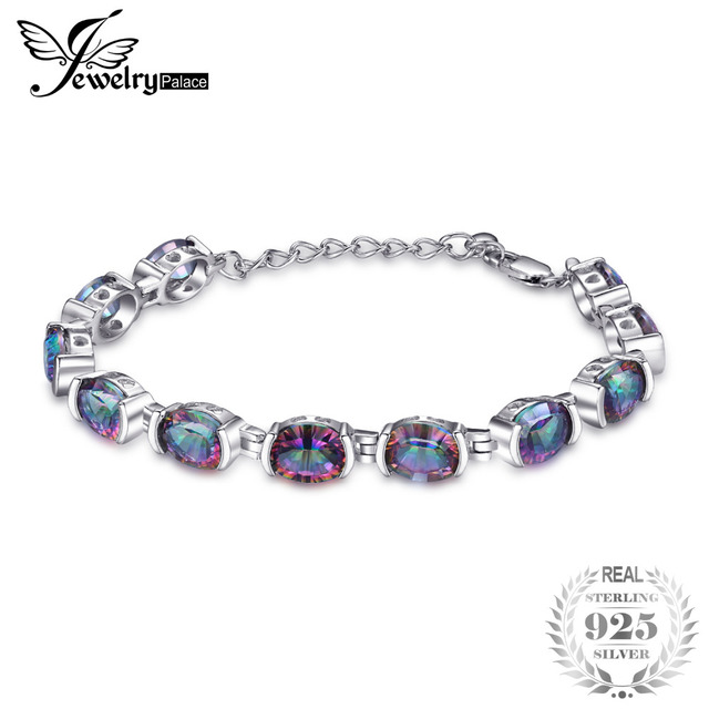 20ct Genuine Natural Fire Rainbow Mystic Topaz Bracelets Tennis For Women Solid 925 Sterling Silver Vintage