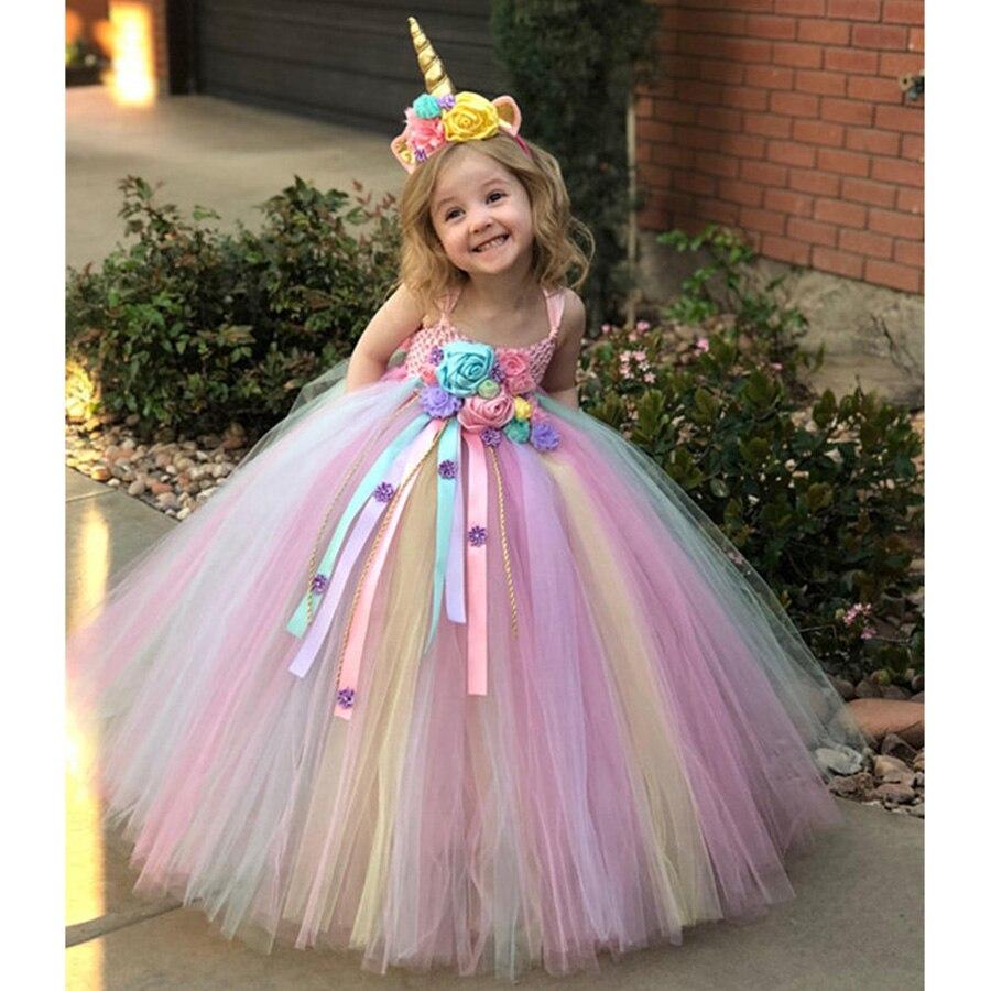 Girl Dresses Kids Long Unicorn Costume for Girls Ankle Length Sleeveless Flower Unicorn Party Dress Tutu Little Pony Ball Gown (4)