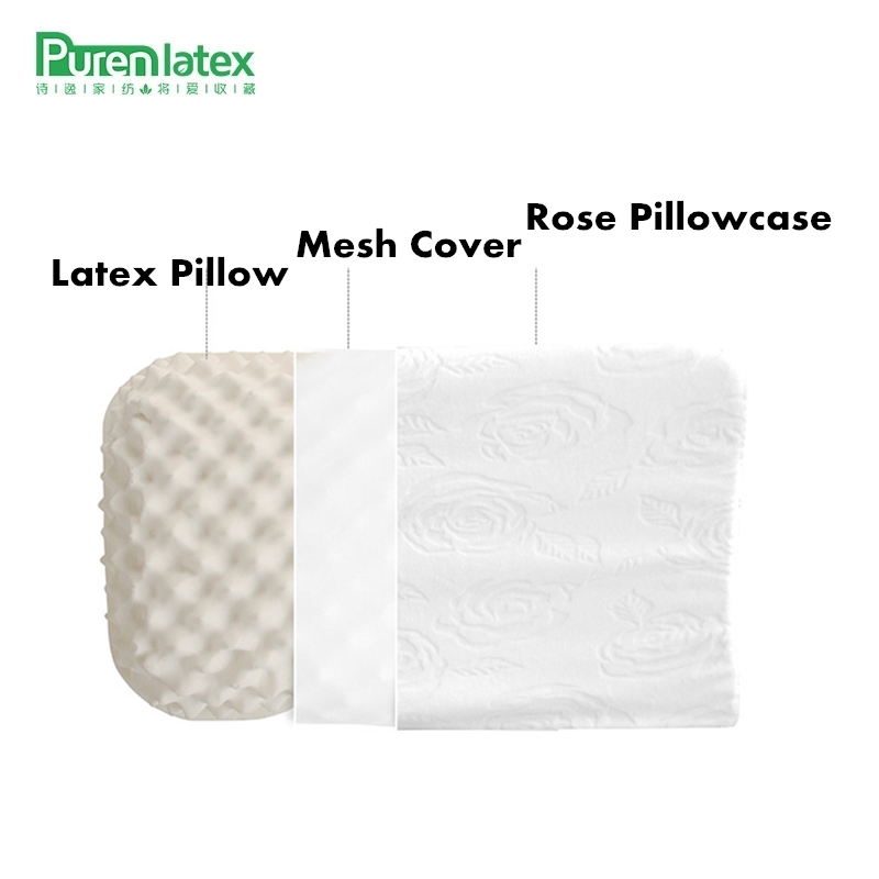 PurenLatex Thailand Pure Natural Latex Pillow Mjukt Vuxen Konturerad Halsskyddande Cervical Spine Korrekt Anti-Mite Stilt Kudde