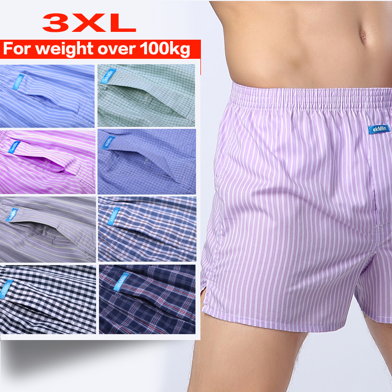 3XL Suitable For Weight Over 100kg Men Boxer Underwear Shorts Woven Fine Cotton Loose Breathable Comfortable Soft Really Good