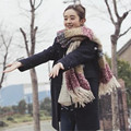 NEW 2016 Winter Warm Striped Scarf New Designer Tassels Thick Scarves For Women and Men F050