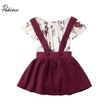 Summer 2PCS Infant Baby Kids Girls Long Sleeve Dress Tops+Suspender Dress Overalls Dress