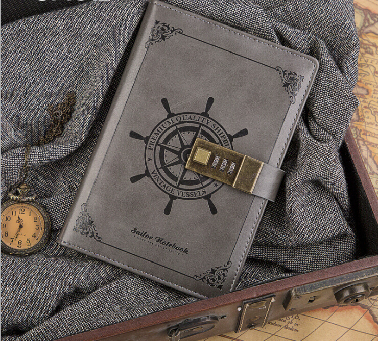 B6 Leather Notebook Travelers Journal  With Password Code Lock   Stationery Supplies Paper & Notebooks Personal Diary 224 Pages